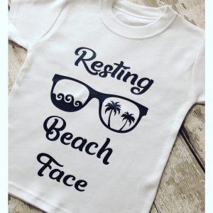 Resting beach face t shirt