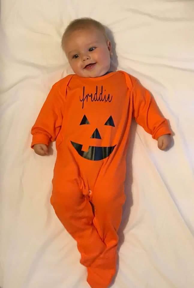 Halloween pumpkin baby grow