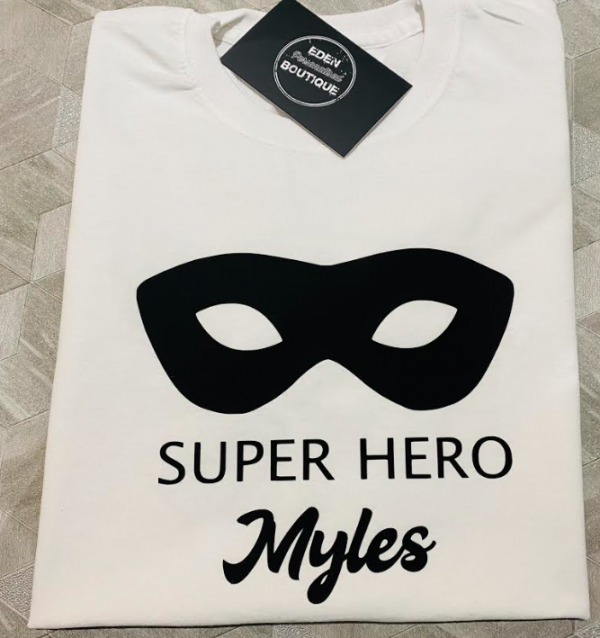personalised superhero mask t-shirt